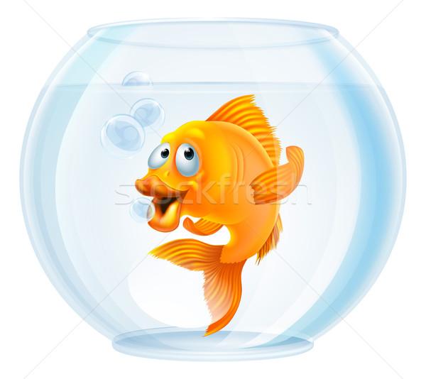 Karikatur Goldfisch Schüssel Illustration cute Gold Stock foto © Krisdog
