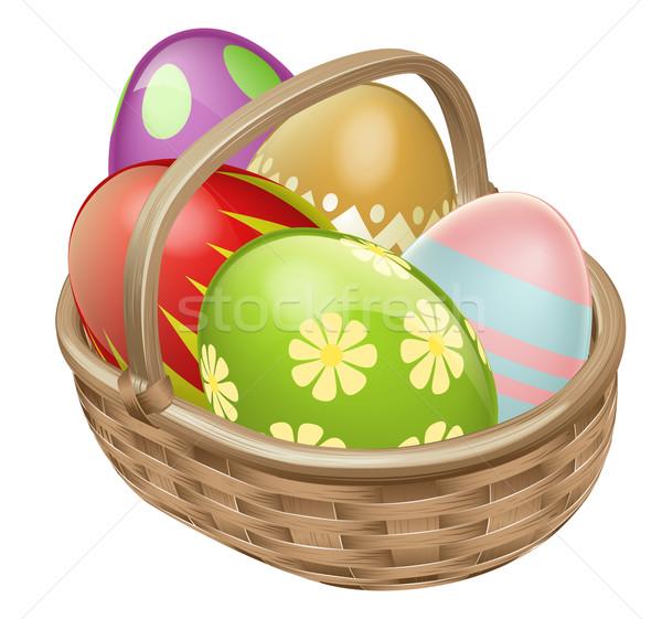 Photo stock: œuf · de · Pâques · illustration · panier · chocolat · décoré · oeufs