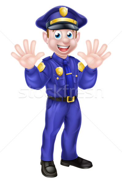 Cartoon Policeman Waving Stock photo © Krisdog