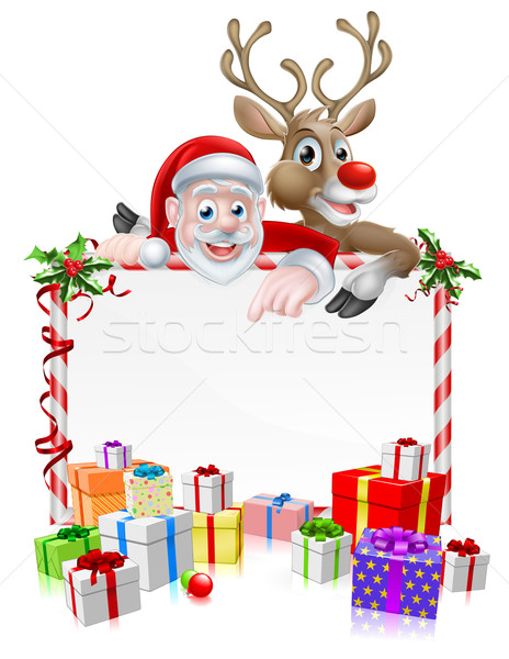 Santa and Reindeer Sign Stock photo © Krisdog