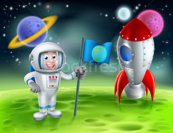 Cartoon raket astronaut scène illustratie retro Stockfoto © Krisdog