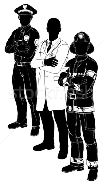Police Fireman Doctor Emergency Team Silhouettes Stock photo © Krisdog