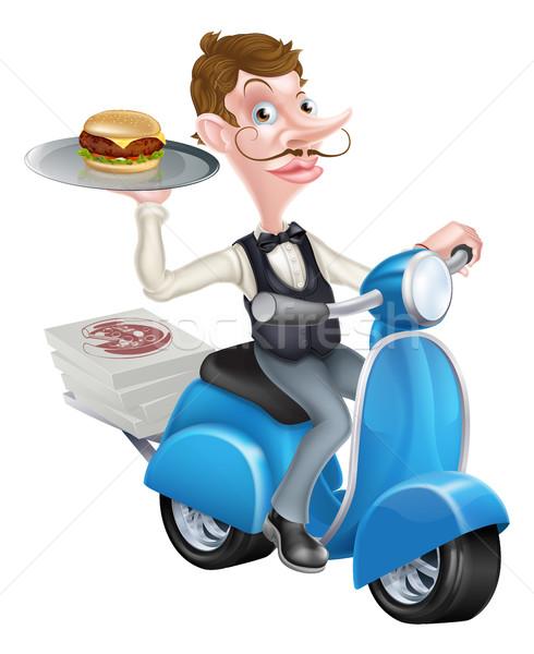 Cartoon Waiter on Scooter Moped Delivering Burger Stock photo © Krisdog