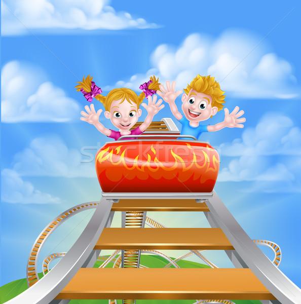 Desenho animado parque montanha-russa menina crianças Foto stock © Krisdog