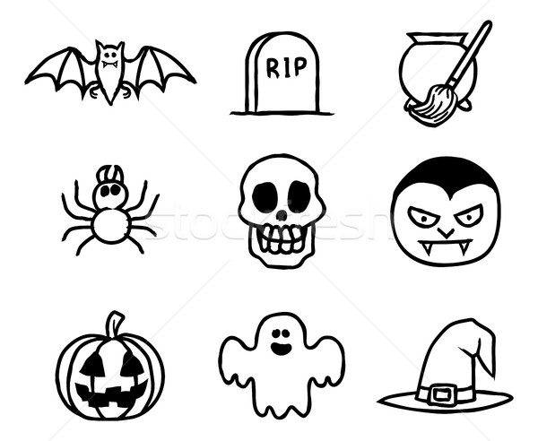 Halloween Hand Drawn Icon Set Stock photo © Krisdog