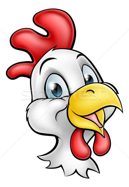 Desenho animado frango galo bonitinho comida Foto stock © Krisdog