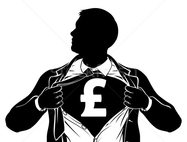 Pound Business Man Superhero Tearing Shirt Chest Stock photo © Krisdog