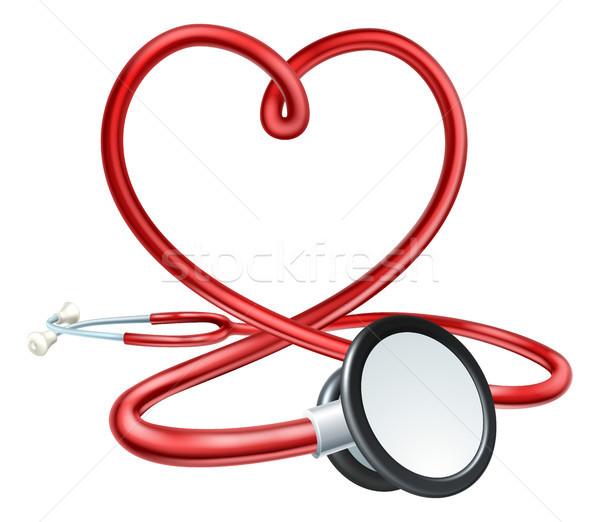 Estetoscopio corazón rojo médicos forma de corazón arte Foto stock © Krisdog