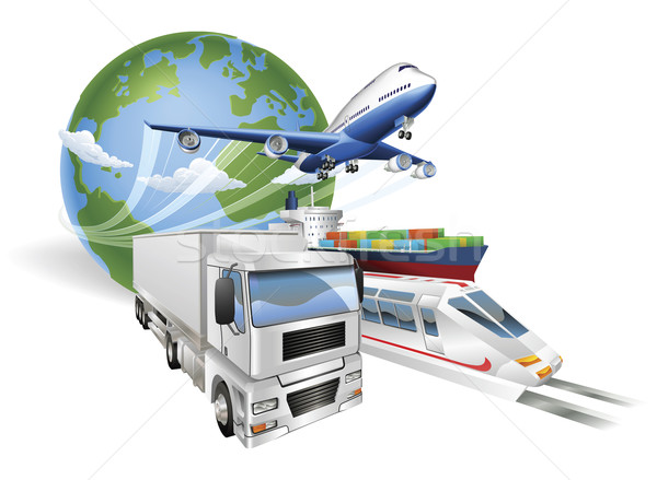 Global logistics concept airplane truck train ship Stock photo © Krisdog