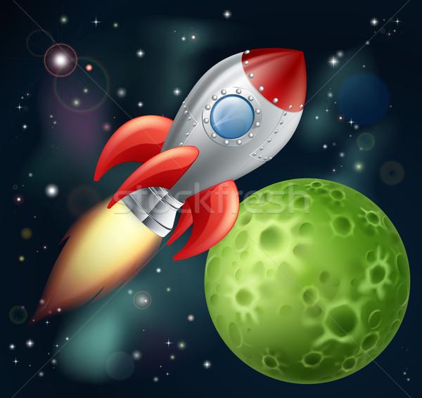 Cartoon rocket in space Stock photo © Krisdog