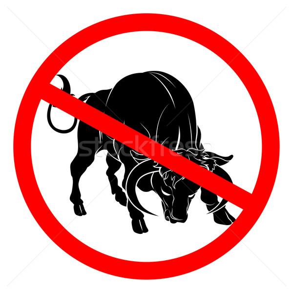 Geen stier teken Rood cirkel lijn Stockfoto © Krisdog