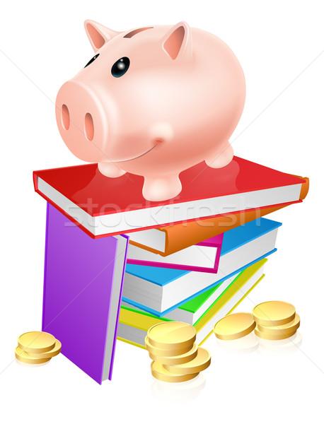 Piggy bank on books Stock photo © Krisdog