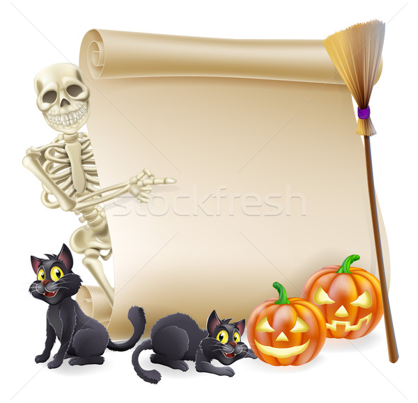 Halloween Skeleton Scroll Banner Stock photo © Krisdog