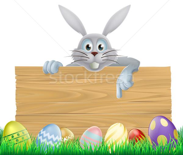 Eggs and Easter bunny sign Stock photo © Krisdog