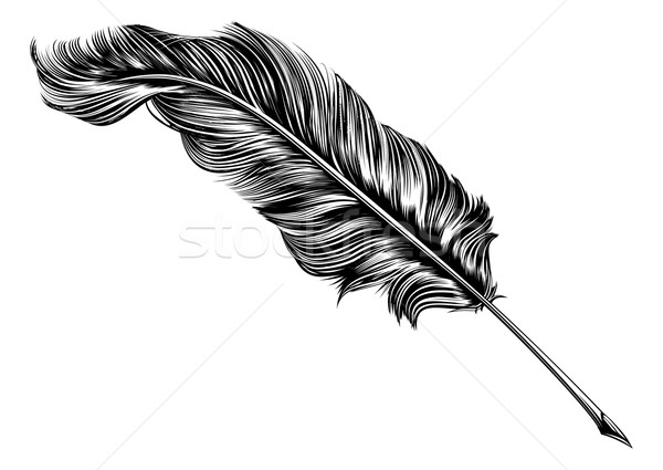 Vintage feather quill pen illustration Stock photo © Krisdog