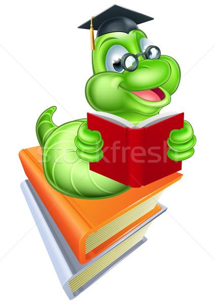 Сток-фото: книжный · червь · образование · зеленый · Cartoon · Caterpillar · червя