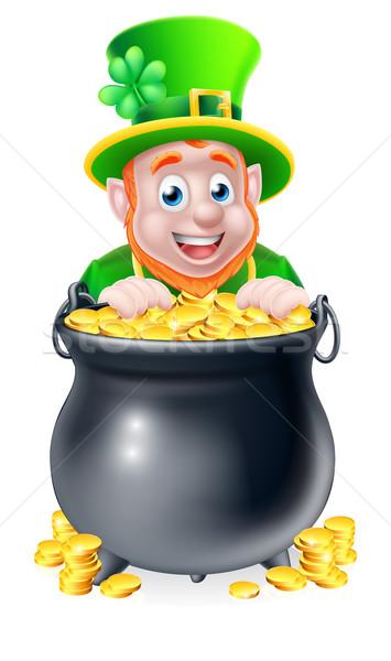 Cartoon Leprechaun and Pot of Gold Stock photo © Krisdog