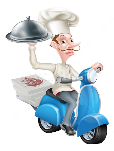 Cartoon Chef on Scooter Moped Delivering Food Stock photo © Krisdog