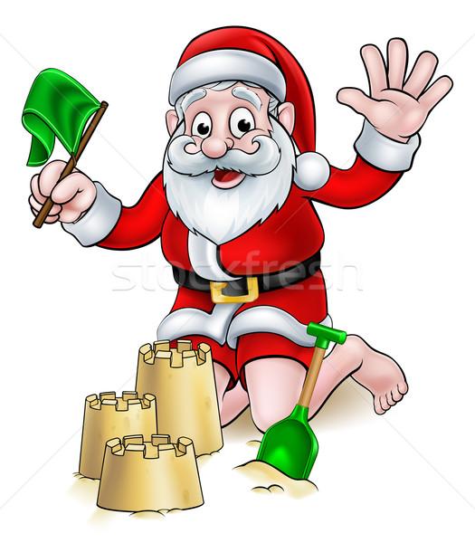 Christmas cartoon strand kerstman spelen Stockfoto © Krisdog