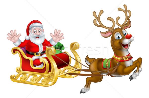 Christmas Santa and Reindeer Sleigh Stock photo © Krisdog