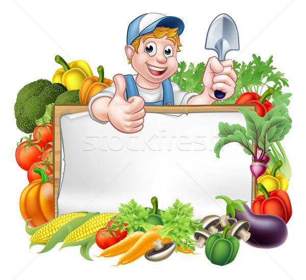 Cartoon Gardener Vegetables Sign Stock photo © Krisdog