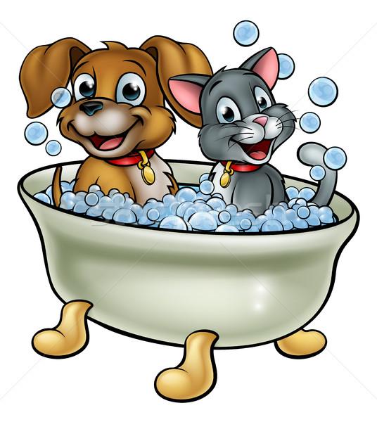 Cartoon chat chien lavage bain animaux de compagnie Photo stock © Krisdog