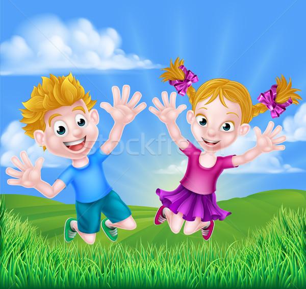 Happy Cartoon Children Jumping Stock photo © Krisdog