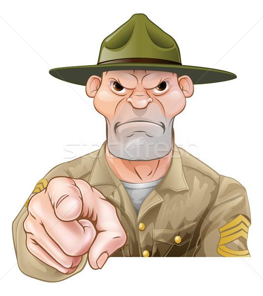 Cartoon армии дрель сержант указывая солдата Сток-фото © Krisdog