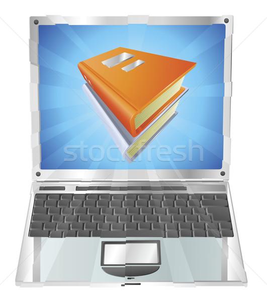 Books icon laptop concept Stock photo © Krisdog