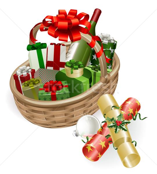 Stok fotoğraf: Noel · sepet · örnek · şarap · hediyeler · top