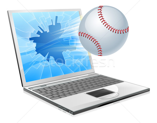 Baseball palla laptop illustrazione battenti fuori Foto d'archivio © Krisdog