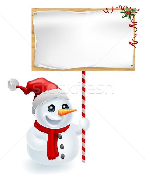 クリスマス 雪だるま にログイン かわいい サンタクロース 帽子 ストックフォト © Krisdog