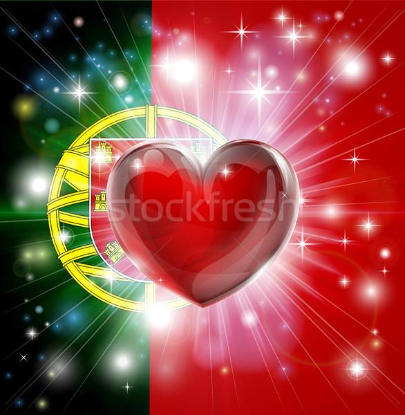 Love Portugal flag heart background Stock photo © Krisdog