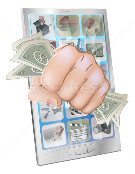 Fist smashing out of phone with money Stock photo © Krisdog