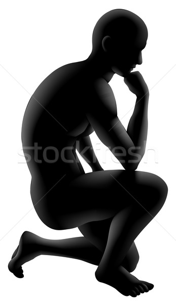 Penseur silhouette homme posent psychologie Photo stock © Krisdog