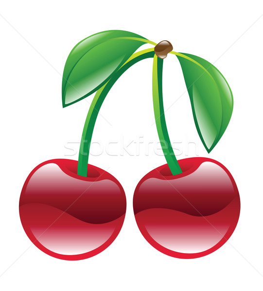 Cerises illustration fruits laisse rouge cerise Photo stock © Krisdog