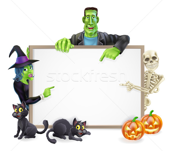 Halloween Monsters Background Sign Stock photo © Krisdog