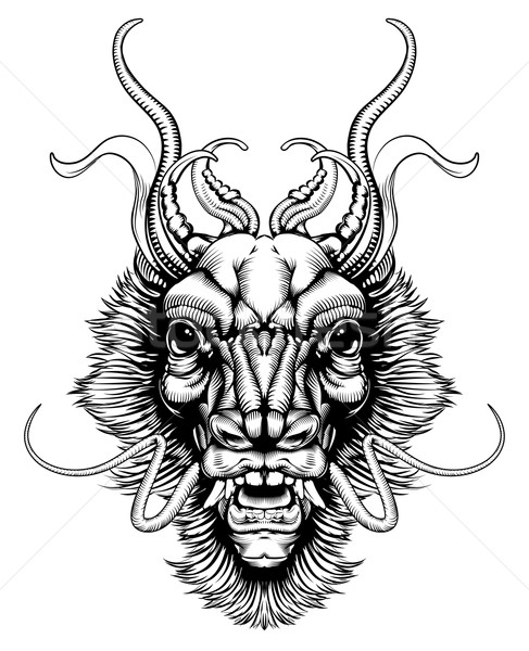 Woodblock style dragon head Stock photo © Krisdog