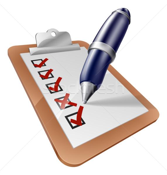 Pen schrijven illustratie terugkoppeling kruis Stockfoto © Krisdog