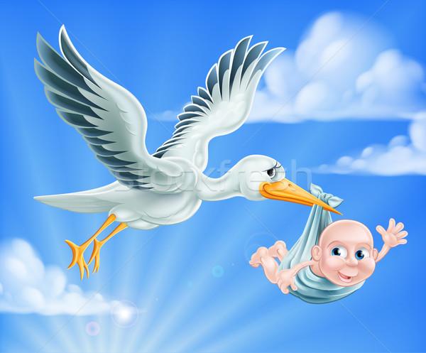 Gólya baba illusztráció rajz repülés égbolt Stock fotó © Krisdog