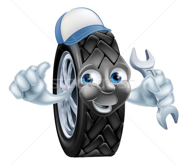 Tyre mechanic cartoon mascot Stock photo © Krisdog