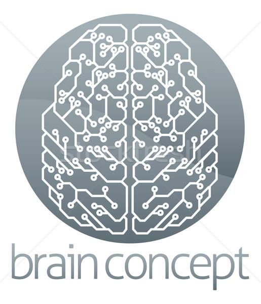 Circle brain computer circuit Stock photo © Krisdog