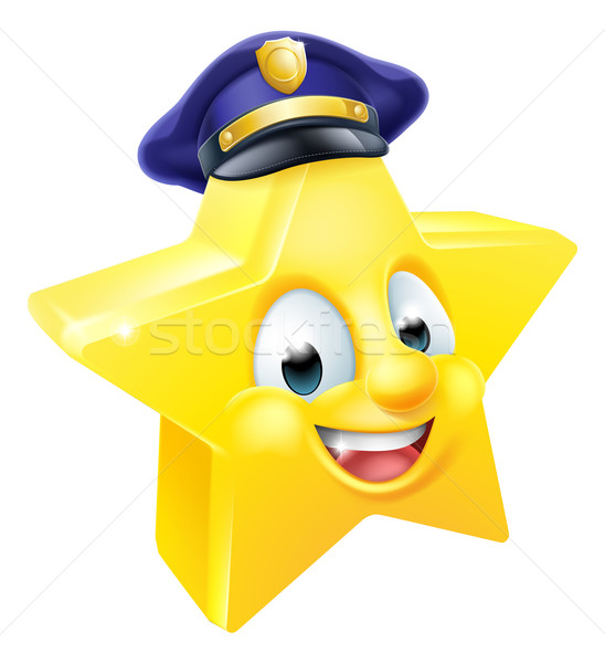 Star politie emoticon cartoon persoon mascotte Stockfoto © Krisdog