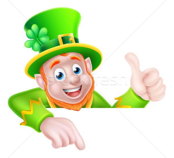 St Patricks Day Leprechaun Pointing Stock photo © Krisdog