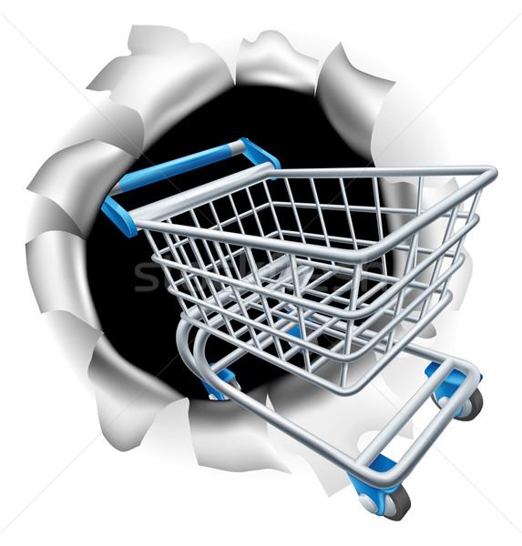 Bevásárlókocsi metafora fogyasztó jogok üzlet papír Stock fotó © Krisdog