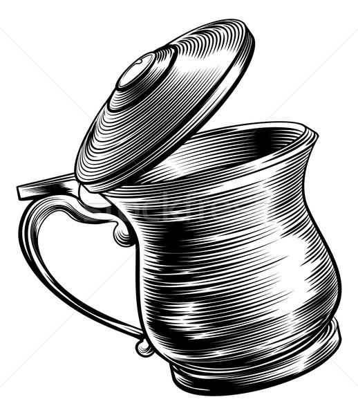 Woodcut Beer Stein Tankard  Stock photo © Krisdog