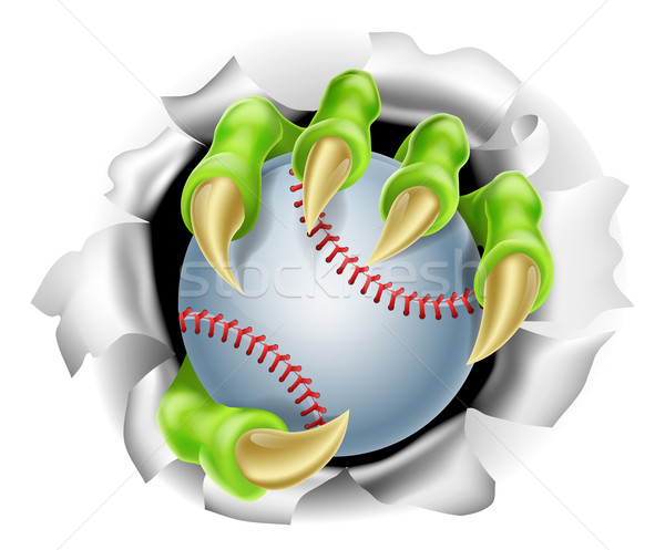 Stock photo: Claw with Baseball Ball Breaking out Of Background