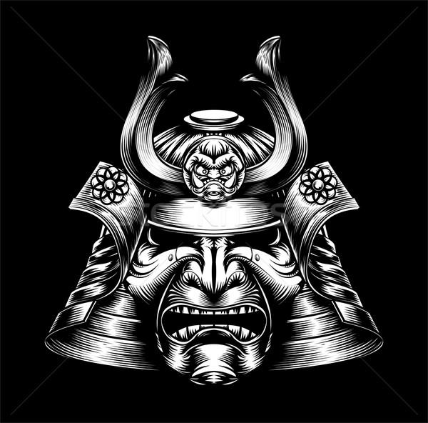 Japonês samurai máscara olhando capacete guerreiro Foto stock © Krisdog