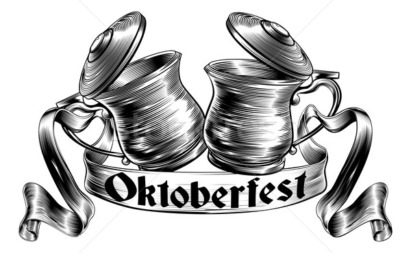 Beer Stein Tankard Toast Oktoberfest Concept Stock photo © Krisdog