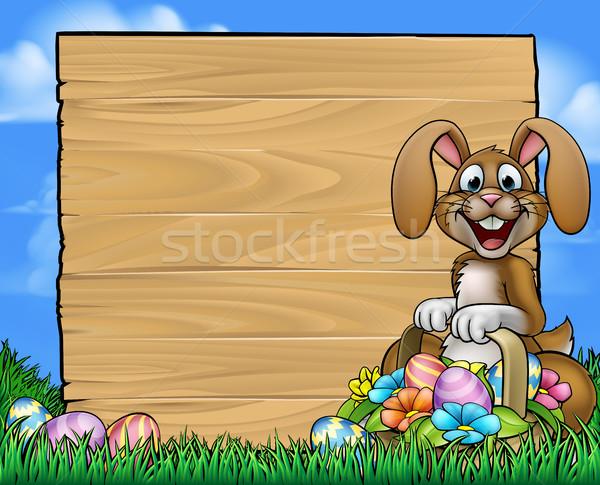 Easter Sign Bunny Eggs Background  Stock photo © Krisdog